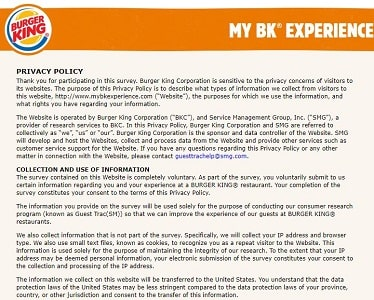 My BK Experience survey rules