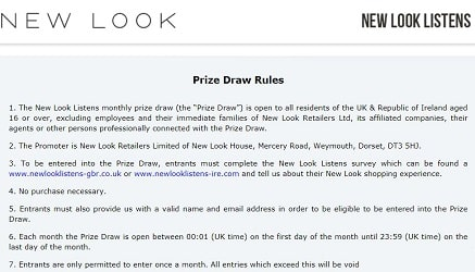 NewLookListens Prize draw rules